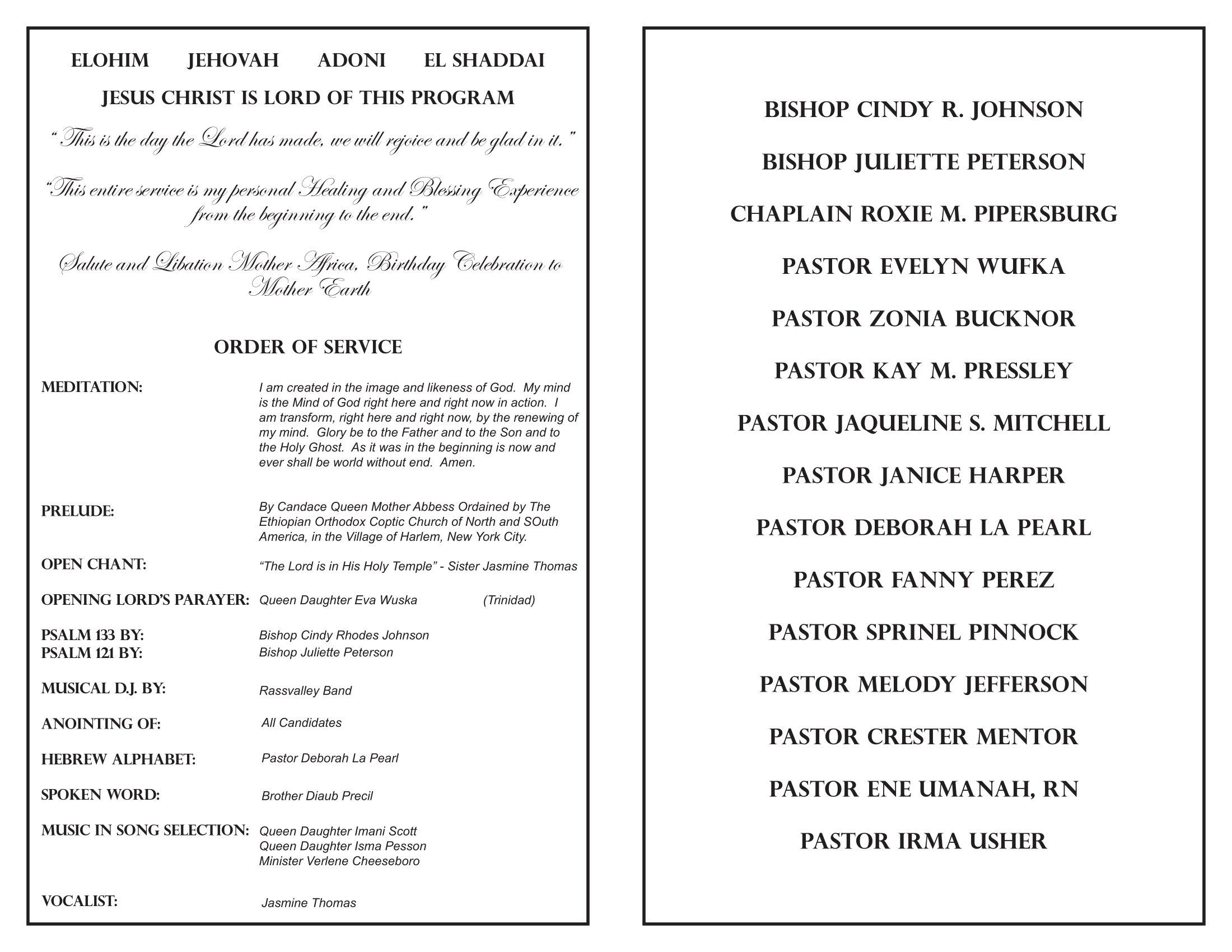 Ordination Service Program