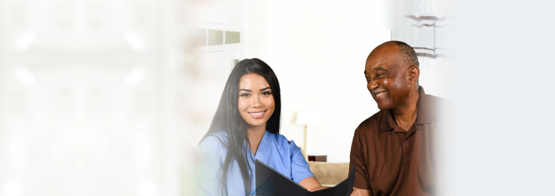 caregiver with elderly man
